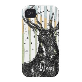Deer/Stag Birch Tree linen Personalize iphone Case Iphone 4 Cover