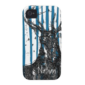 Deer/Stag Birch Tree Personalize iphone Case Iphone 4/4s Case
