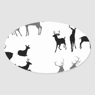Deer stag fawn and doe silhouettes oval stickers