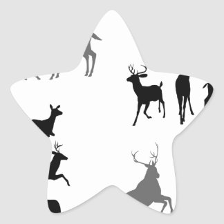 Deer stag fawn and doe silhouettes star sticker