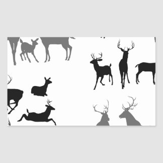 Deer stag fawn and doe silhouettes rectangular stickers