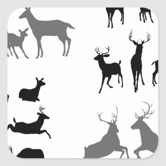 Deer stag fawn and doe silhouettes stickers