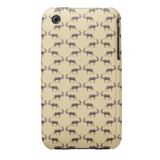 Deer Stag Pattern on Beige Case-Mate iPhone 3 Cases