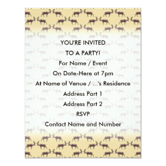 Deer Stag Pattern on Beige. 4.25x5.5 Paper Invitation Card