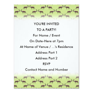 Deer Stag Pattern on Green. 4.25x5.5 Paper Invitation Card