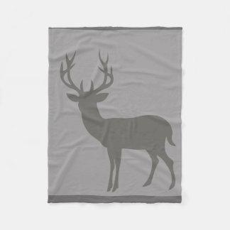 Deer Stag Silhouette   charcoal dove grey Fleece Blanket