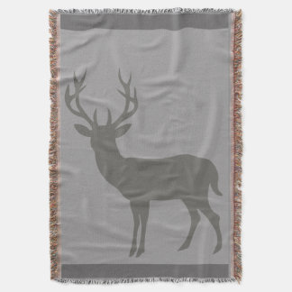 Deer Stag Silhouette   charcoal dove grey Throw Blanket