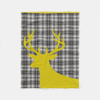 Deer Stag Silhouette Plaid   dove grey yellow Fleece Blanket