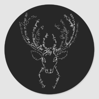 Deer Stag typographic antlers silhouette head Classic Round Sticker