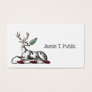Deer Stag with Fern Heraldic Crest Emblem Business Card