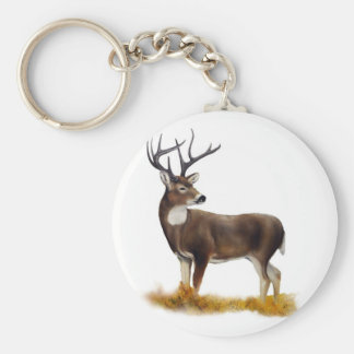 Deer standing alone on customizable products keychain