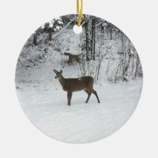 Deer Standing in Snow Ceramic Ornament