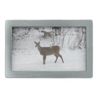 Deer Standing in Snow Rectangular Belt Buckle