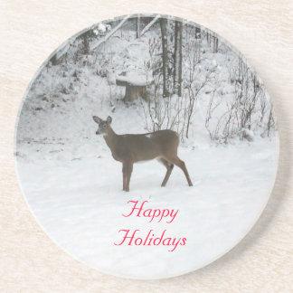 Deer Standing in Snow Sandstone Coaster