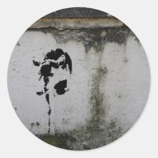 Deer Stencil Classic Round Sticker