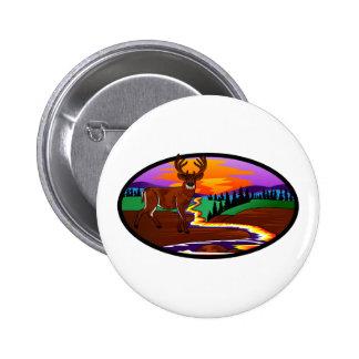 Deer Sunset Pinback Button