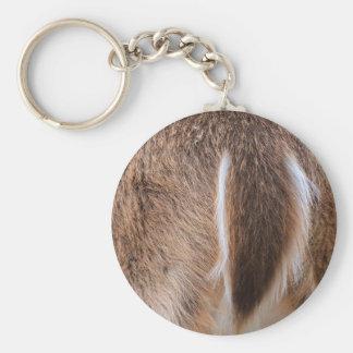 Deer Tail Basic Round Button Keychain