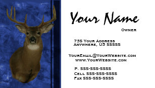 Taxidermy business cards templates zazzle deer taxidermy business cards blue colourmoves