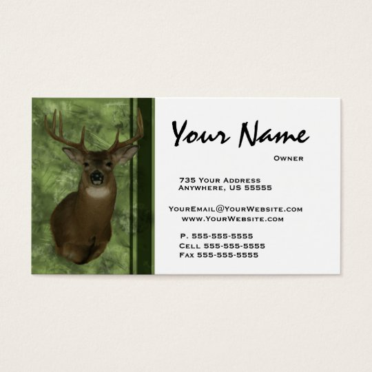 Deer taxidermy business cards green zazzle deer taxidermy business cards green colourmoves