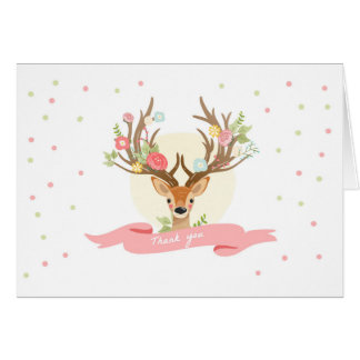Deer Thank you card Woodland Buck Antlers Floral