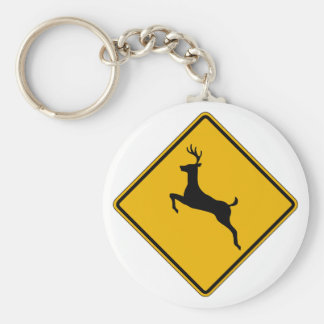 Deer Traffic, Traffic Warning Sign, USA Keychain