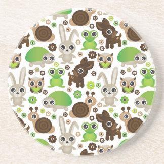 deer turtle bunny animal wallpaper sandstone coaster