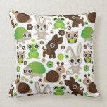 deer turtle bunny animal wallpaper throw pillow