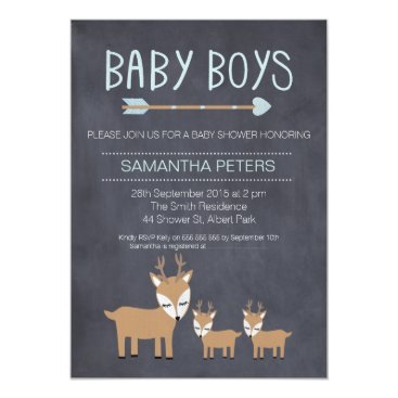 Toddler & Baby themed Deer Twin Boys Chalkboard Baby Shower Invitation