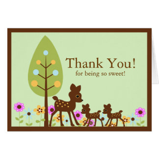 Deer Twins Baby Shower Thank You Note Card