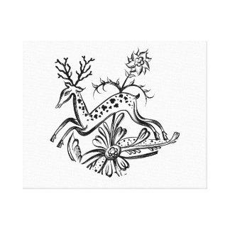Deer vintage jumping flowers jagged image.png canvas print