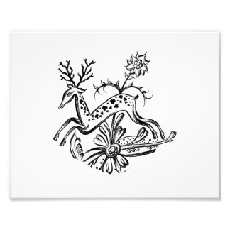 Deer vintage jumping flowers jagged image png photograph
