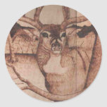 DEER WB.PNG Big Buck Wood Burning Round Stickers