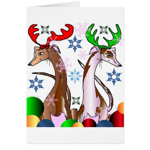 Deer Whippets Greeting Card