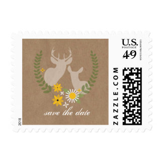 Deer & Wildflowers Brown Paper Inspired Save Date Postage