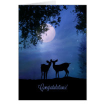 Deer Wildlife Animal Congratulations Cute Wedding Card