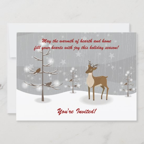 Deer Winter Scene Holiday Party Invitations