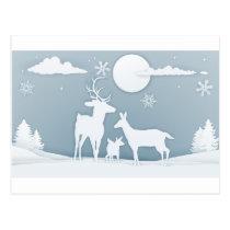 Deer Winter Scene Paper Art Postcard
