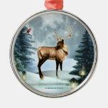 Deer Winter Scene Squar Silver Ornament