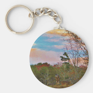 Deer with a Pink blue sky Basic Round Button Keychain