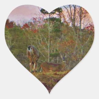 Deer with a Pink blue sky Heart Sticker