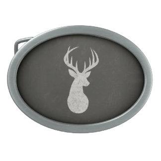 Deer With Antlers Chalk Drawing Belt Buckle