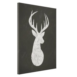 Deer With Antlers Chalk Drawing Canvas Print