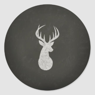 Deer With Antlers Chalk Drawing Classic Round Sticker