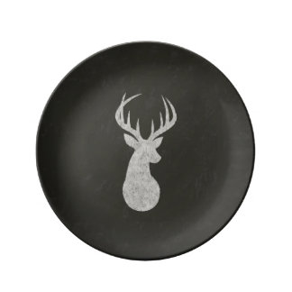Deer With Antlers Chalk Drawing Dinner Plate