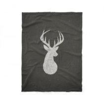 Deer With Antlers Chalk Drawing Fleece Blanket