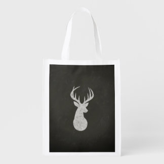 Deer With Antlers Chalk Drawing Grocery Bag