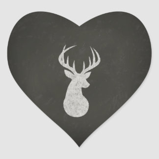 Deer With Antlers Chalk Drawing Heart Sticker