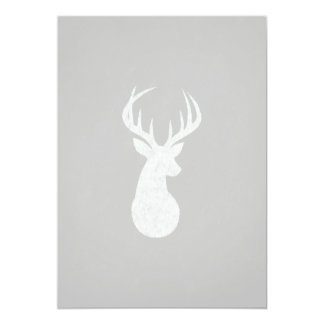 Deer With Antlers Chalk Drawing 5x7 Paper Invitation Card