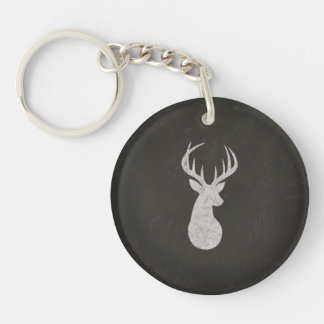 Deer With Antlers Chalk Drawing Keychain