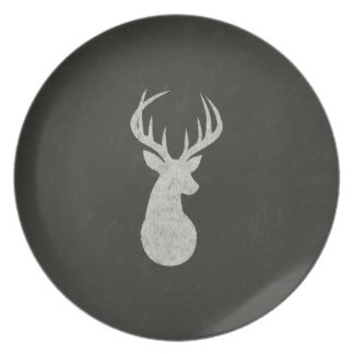 Deer With Antlers Chalk Drawing Melamine Plate